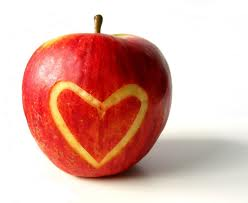 apple with heart carved